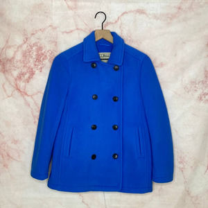L.L. Bean Double Breasted Fleece Peacoat Blue  PXS